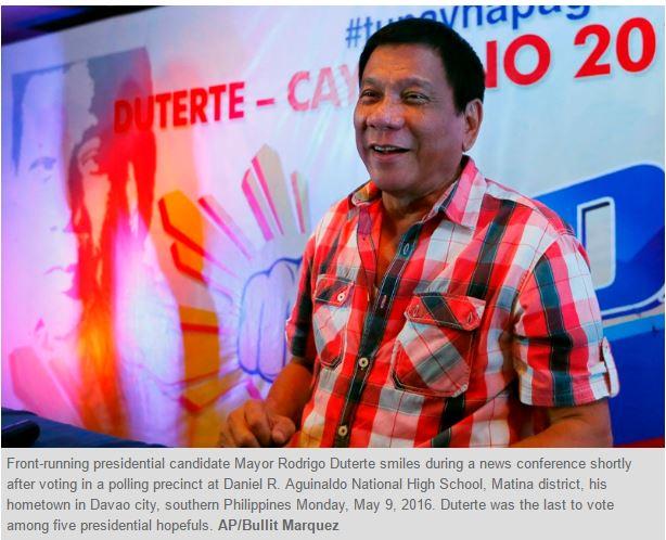 C'est le raz-de-marée électoral pour Rodrigo Duterte à la présidentielle aux Philippines. Le nouveau président souhaite déjà réécrire la Constitution. Copie d'écran de Philippine Star, le 10 mai 2016
