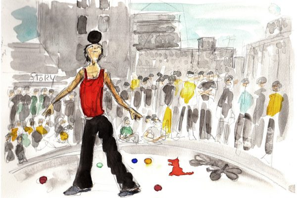 dessin de jonglage à Huashan (華山).