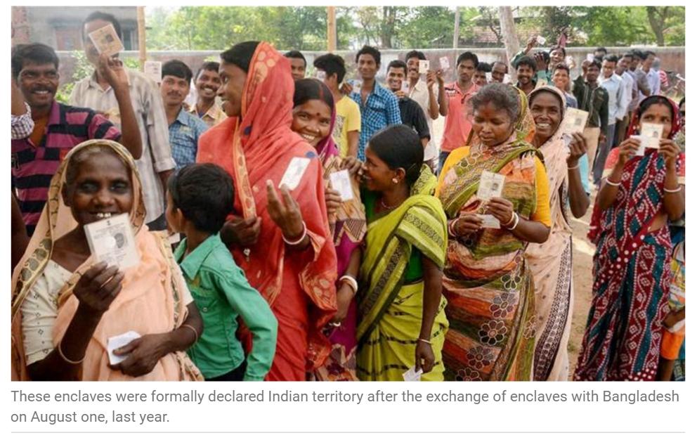 """Les échanges de territoire entre l'Inde et le Bangladesh opérés l'année dernière permettent à 10000 nouveaux électeurs indiens de voter pour la première fois depuis 1947. Copie d'écran de """"The Indian Express"""", le 3 mai 2016."""