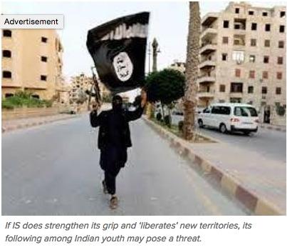 """Les jeunes indiens radicalisés sont de plus en plus séduits par l'EI que par les groupes terroristes régionaux plus anciens. Copie d'écran de """"Times of India"""", le 18 mai 2016."""