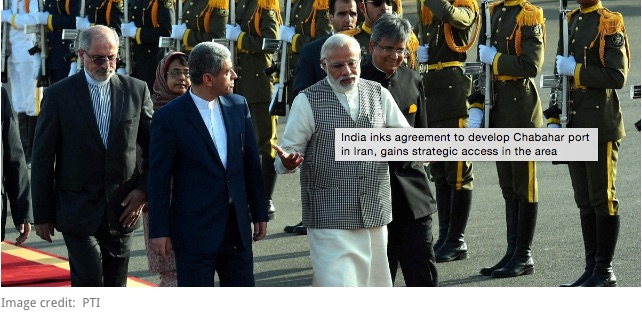 """Lors d'une visite en Iran, Narendra Modi a apporté son soutient à la construction d'un port à Chabahar qui reliera le pays à la Russie, l'Afghanistan et l'Europe sans passer par le Pakistan. Copie d'écran de """"Scroll.in"""", le 23 mai 2016."""