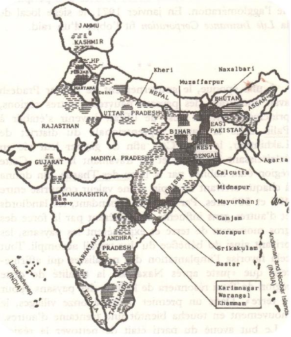 Carte historique de la présence des naxalites maoïstes en Inde, par K.C.Shah