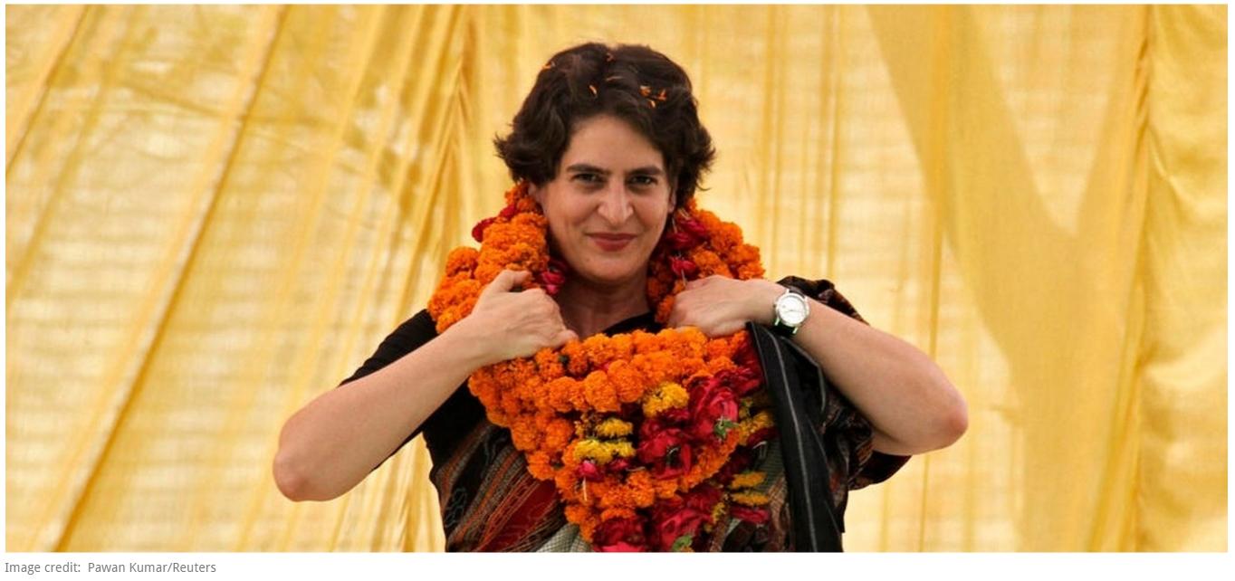 """Priyanka Gandhi pourra-t-elle donner un nouveau souffle au Parti du Congrès en Uttar Pradesh ? Copie d'écran de """"Scroll.in"""", le 3 mai 2016."""