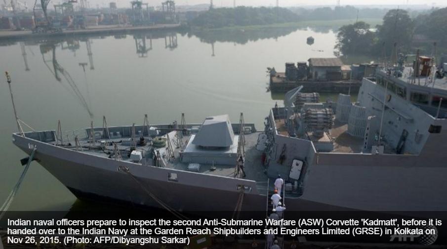"""L'Inde et les Etats-Unis se méfient de la présence de sous-marins chinois dans l'Océan indien. Copie d'écran de """"Channel News asia"""", le 2 mai 2016."""
