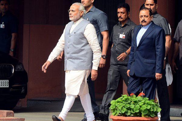 Le Premier ministre indien Narendra Modi après une session sur le budget au parlement à New Delhi.