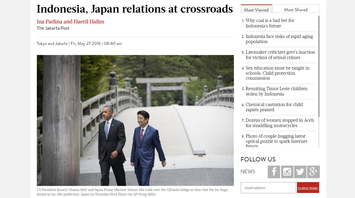 """Un vent nouveau souffle sur les relations nippo-indonésiennes, en marge du G7. Copie d'écran du """"Jakarta Post"""", le 27 mai 2016."""