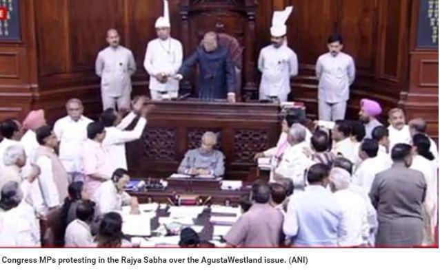 """En Inde, la lutte n'a jamais été aussi intense entre le BJP, parti au pouvoir du Premier ministre Narendra Modi, et l'opposition du Congrès, accusé de corruption à travers la vente frauduleuse d'hélicoptères AgustaWestland en 2010. Copie d'écran de """"Hindustan Times"""", le 9 mai 2016."""
