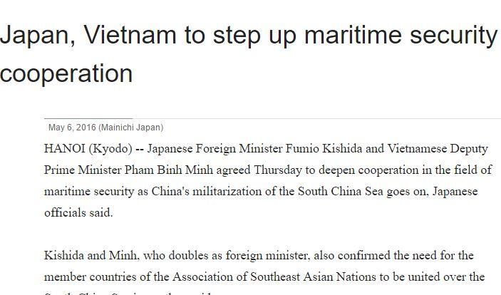 """Le ministre japonais des affaire étrangères s'est entretenu avec son homologue vietnamien et le Premier ministre, pour renforcer la coopération. Copie d'écran du """"Mainichi Shimbun"""", le 6 mai 2016."""