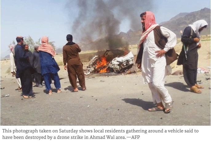 """L'attaque menée par les Etats-Unis à la frontière pakistano-afghane qui a tué deux personnes dont le chef des talibans afghans, Akthtar Mansour a été qualifiée de """"violation de la souveraineté du Pakistan"""" par Nawaz Sharif. Copie d'écran du site """"Dawn"""", le 23 mai 2016."""