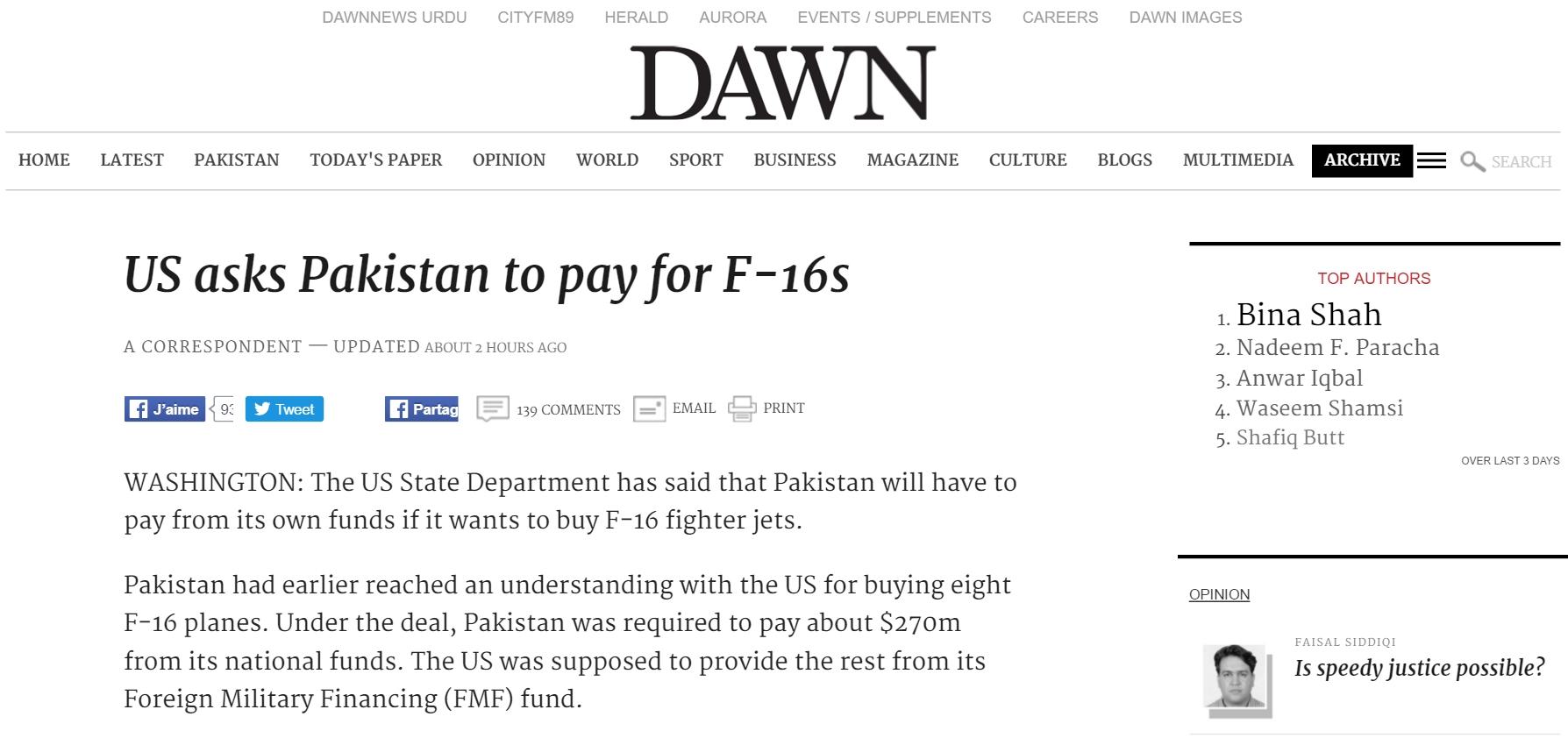 """Le Pakistan devra financer de ses fonds propre le coût de ses futurs avions de chasses. Copie d'écran de """"Dawn"""", le 3 mai 2016."""