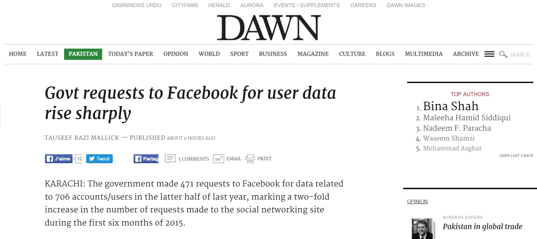 """Une ONG pakistanaise qui milite pour la protection des données sur internet affirme que les demandes du gouvernement se font sans aucune surveillance. Copie d'écran de """"Dawn"""", le 2 mai 2016."""