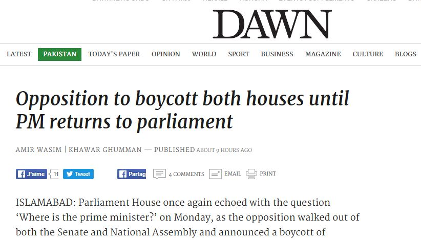 """L'affaire des Panama Papers met le Premier ministre pakistanais Nawaz Sharif dans une situation toujours plus délicate. Copie d'écran de """"Dawn"""", le 10 mai 2016."""