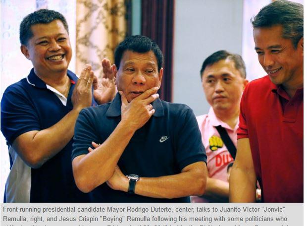 """Selon Pulse Asia, le millionnaire pourrait remporter les élections du 9 mai. Copie d'écran du """"Phil Star"""", le 4 mai 2016."""