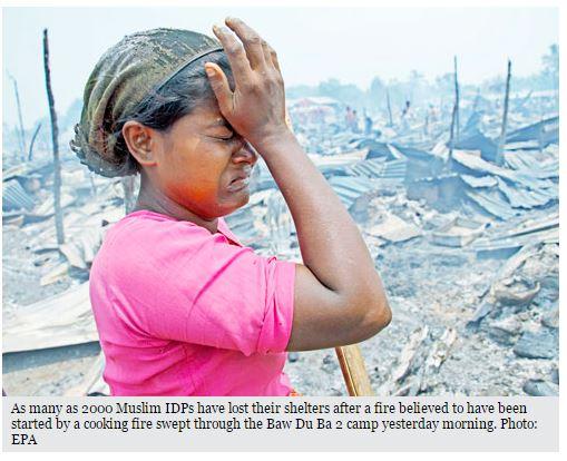 """De nombreuses organisations ont régulièrement condamné les mauvaises conditions dans lesquelles vivent les personnes déplacées internes en Birmanie. """"Rohingya"""". Copie d'écran du """"Myanmar Times"""", le 4 mai 2016."""