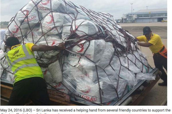 """L'organisation du Croissant-rouge turc est l'un des donateurs du Sri Lanka qui a été touché par des pluies diluviennes. Copie d'écran du site """"Lanka Business Online"""", le 24 mai 2016."""
