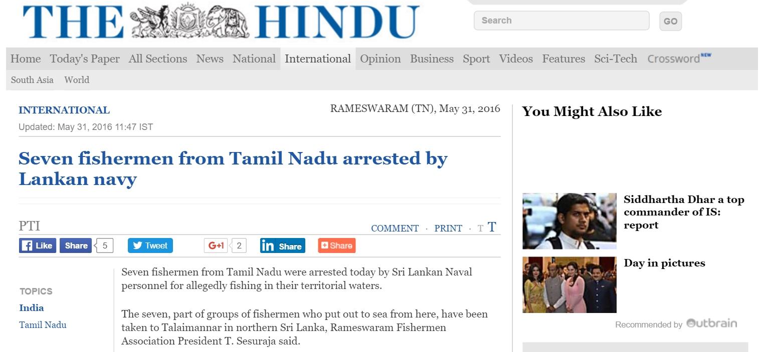 """Sept pêcheurs indiens ont été arrêtés au large du Sri Lanka. Copie d'écran de """"The Hindu"""", le 31 mai 2016."""