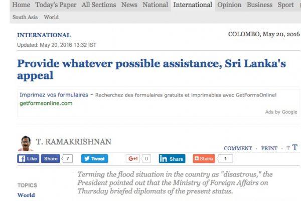 """Le président a lancé un appel à l'aide pour tenter d'obtenir des matériel nécessaire à la reconstruction du pays. Copie d'écran du site """"The Hindu"""", le 20 mai 2016."""