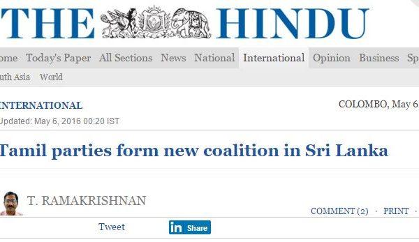 """Une coalition s'est formée pour défendre les tamouls et militera en faveur de l'adoption du """"modèle fédéral indien"""". Copie d'écran de """"The Hindu"""", le 6 mai 2016."""