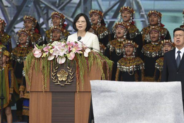 Tsai Ing-wen, première femme présidente de Taïwan, lors de son discours d'investiture au palais présidentiel à Taipei, le 20 mai 2016.