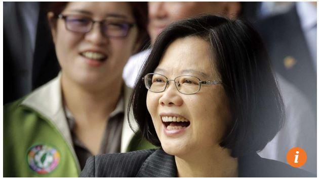 """La présidente Tsai Ing-wen félicite ses partisans à Taipei. Copie d'écran du site """"The South China Morning Post"""", le 25 mai 2016."""