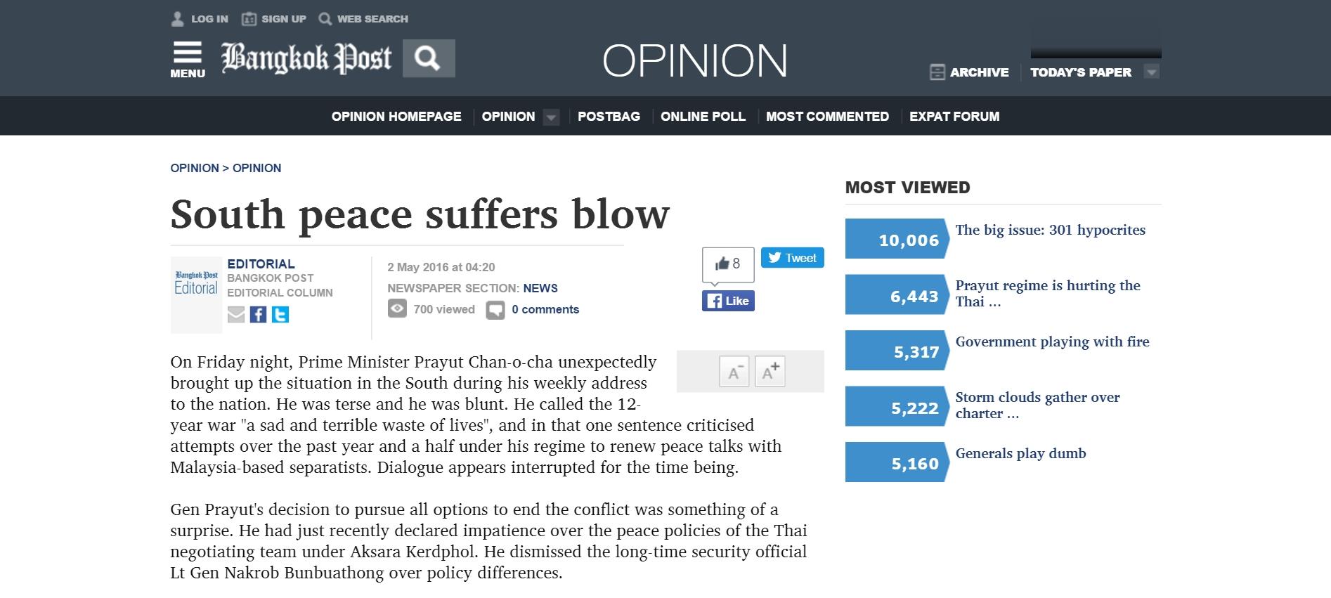 """Prayuth Can-ocha a décidé de rompre unilatéralement les pourparlers avec les musulmans du Sud thaïlandais. Copie d'écran du """"Bangkok Post"""", le 2 mai 2016."""