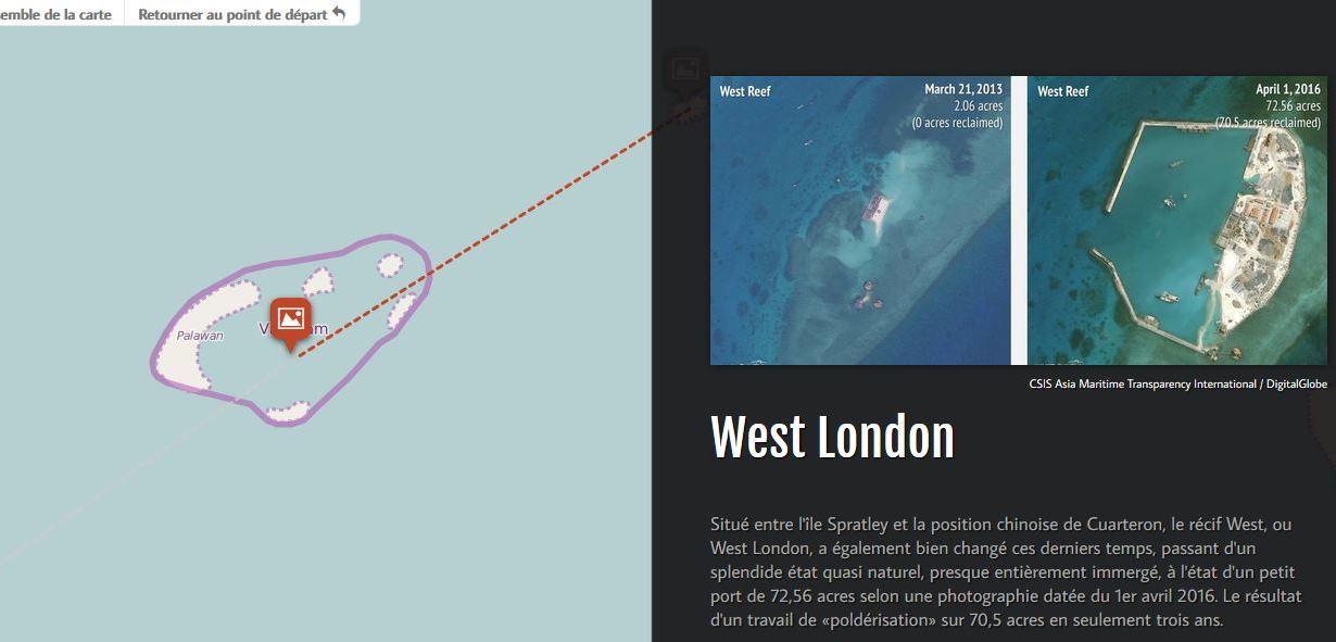 Copie d'écran de notre carte interactive sur les constructions d'îlots artificiels par le Vietnam en mer de Chine du Sud. Ici le récif West ou West London, dans l'archipel des Spratleys.