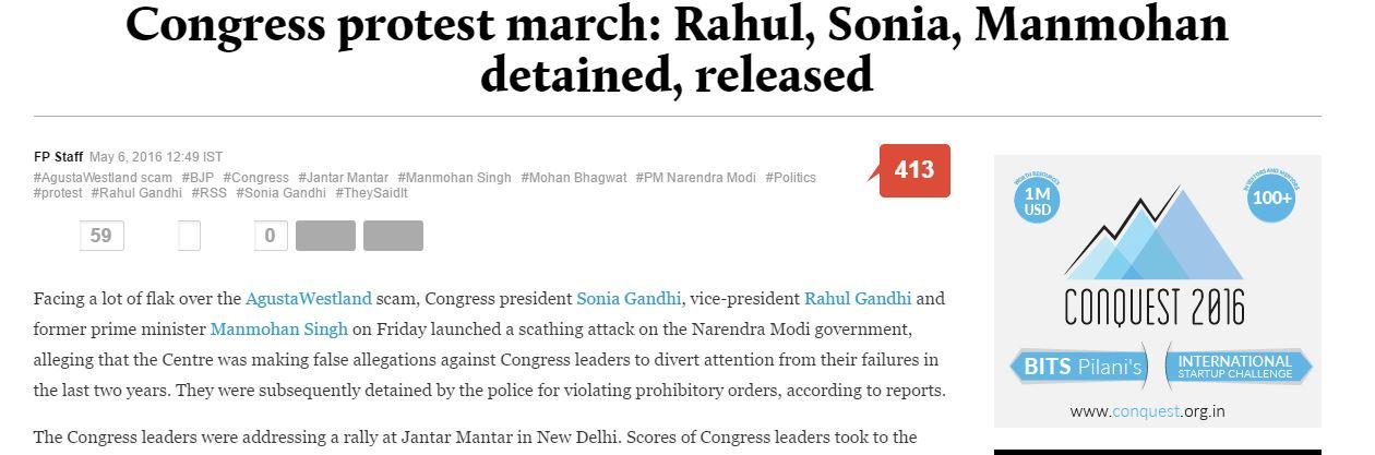"""Ce vendredi 6 mai, le vice-président du parti du Congrès a organisé avec sa mère, Sonia Gandhi, la présidente du parti, une marche de protestation nommée """"sauver la démocratie"""". . Copie d'écran de """"Firstpost"""", le 6 mai 2016."""