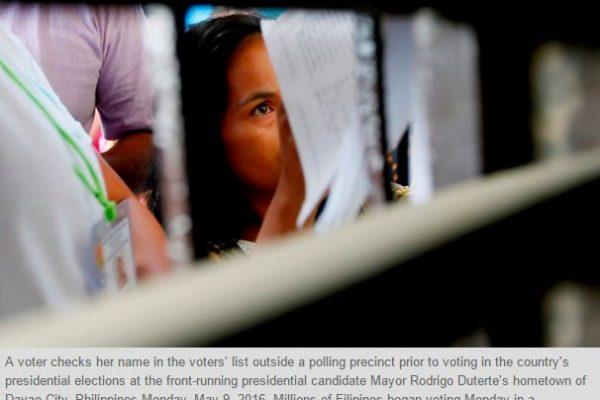 """Une première : les Philippins ont voté à l'aide de machines automatiques de dépouillement. Mais certaines machines en dysfonctionnement ont perturbé le bon déroulement du vote. Copie d'écran du """"Phil Star"""", le 9 mai 2016."""