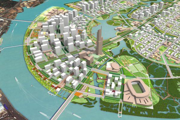 Plan du nouveau quartier de Thu Thiêm à Hô-Chi-Minh-Ville.