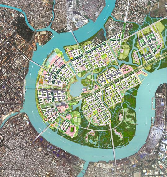 Plan du nouveau quartier de Thum Thiêm à Hô-Chi-Minh-Ville.