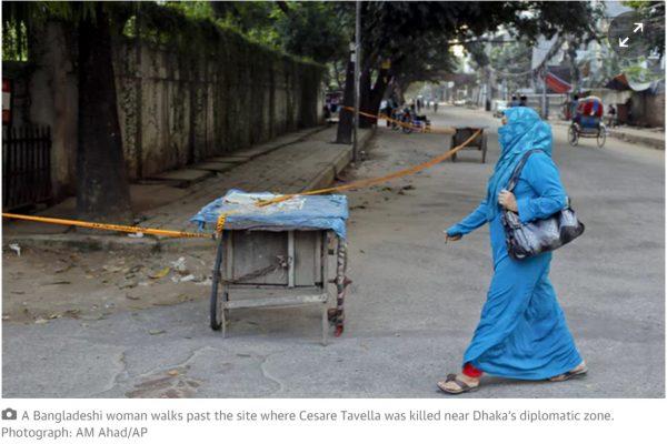 En suspectant des membres de l'opposition, les autorités de Dacca continuent de nier la présence du groupe Etat islamique sur son territoire. Copie d'écran du Guardian, le 28 juin 2016.