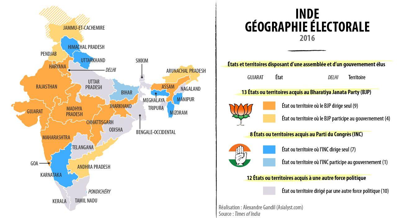 Géographie électorale de l'Inde par partis politiques en 2016.