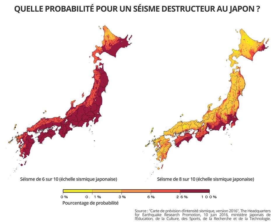 Carte des probabilités d'un séisme destructeur au Japon en fonction des régions.