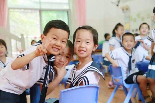 Écoliers au jardin d'enfants de l'Université des Minorités du Sud-Ouest à Chengdu en Chine.