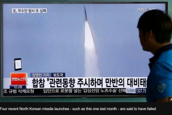 Après quatre échecs, la Corée du Nord a-t-elle enfin réussi ce matin le lancement d'un missile Musudan ? Copie d'écran de BBC, le 22 juin 2016.