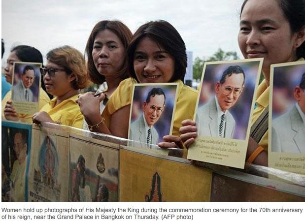 Les Thaïlandais sont appelés à se parer de jaune, couleur du roi, pour les 70 ans de règne du monarque ultra-populaire. Copie d'écran du Bangkok Post, le 9 juin 2016.