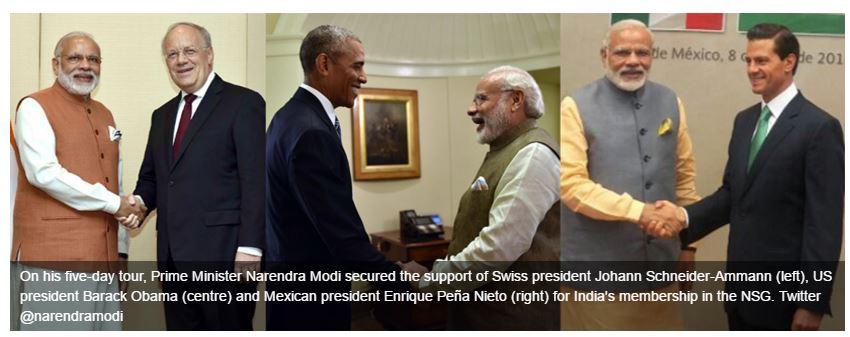 Si l'Inde est soutenue par les Etats-Unis, Pékin s'y est opposée. Copie d'écran du First Post, le 10 juin 2016.