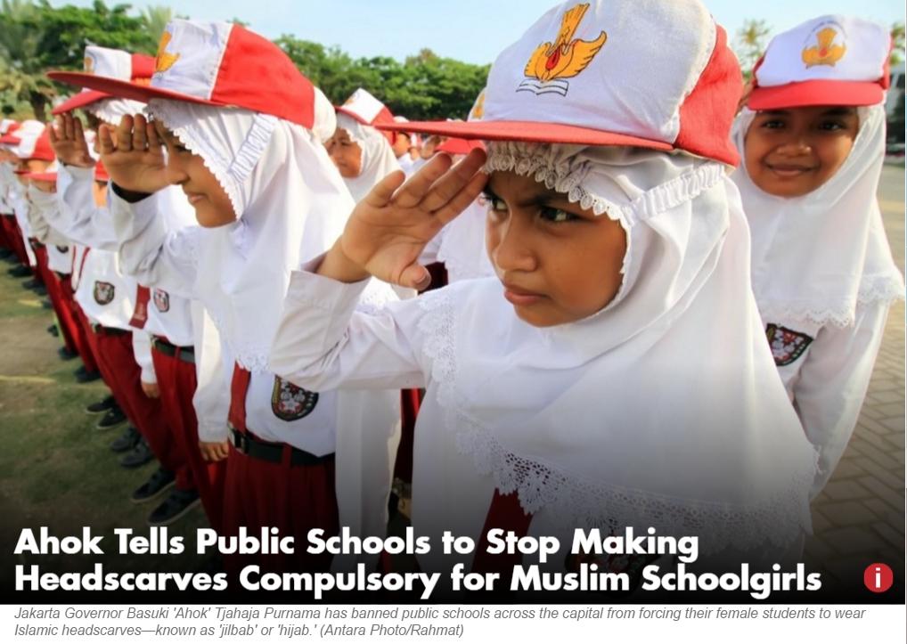 """Le port du voile ne doit plus être obligatoire car les jeunes étudiantes doivent comprendre la symbolique religieuse du hijab, a déclaré le gouverneur de Jakarta. Copie d'écran du """"Jakarta Globe"""", le 6 juin 2016."""