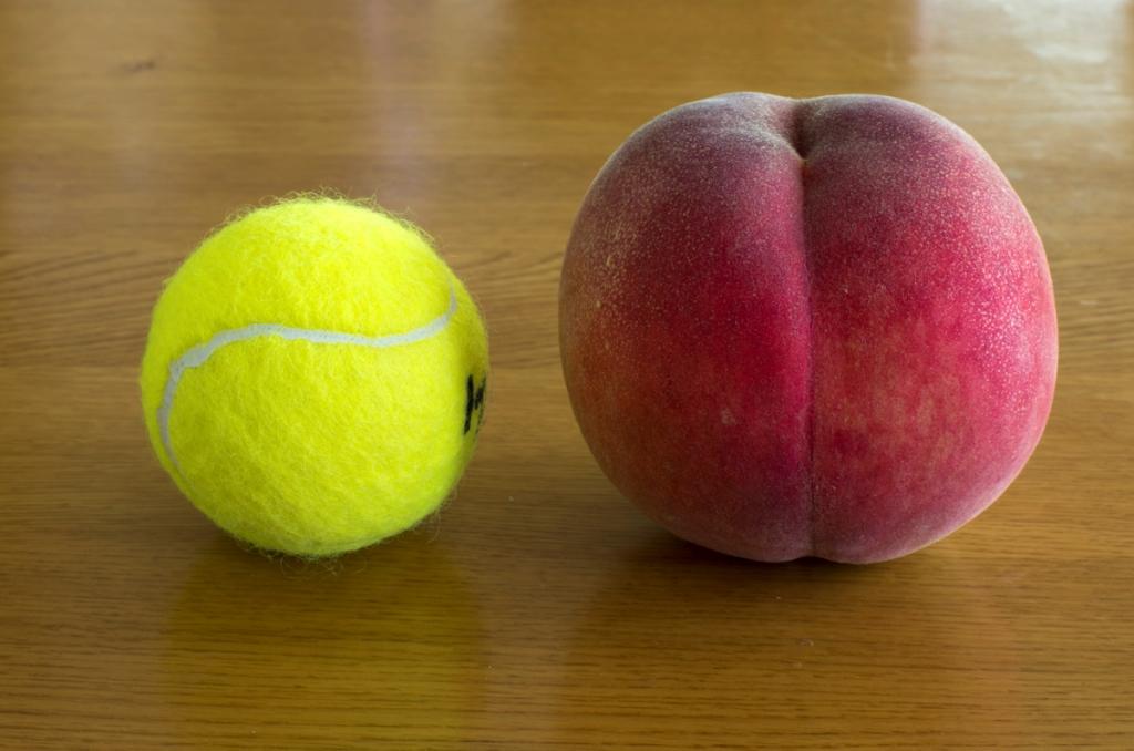 À gauche, une balle de tennis, de taille équivalente à celle d'une pêche vendue en France ; à droite, une pêche de taille standard vendue au Japon.