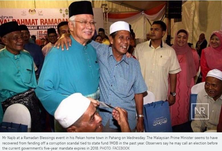 Le Premier ministre Najib Razak pourrait annoncer des élections anticipées dans un contexte politique qui lui est favorable. Copie d'écran du Straits Times, le 24 juin 2016.