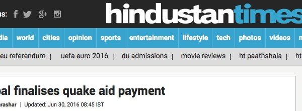 Les aides ont enfin été débloquées par les autorités népalaises, très critiquées pour leur lenteur. Copie d'écran de The Hindustan Times, le 30 juin 2016.
