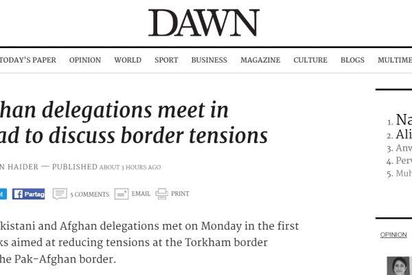 La diplomatie permettra-t-elle de mettre fin aux affrontements de Torkham ? Copie d'écran de Dawn, le 20 juin 2016.