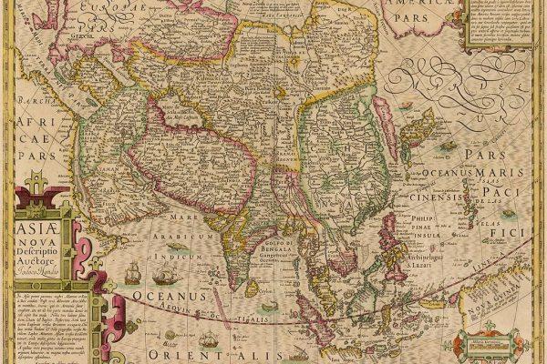 """Cette carte conçue par le Hollandais Jodocus Hondius et intitulée """"Une nouvelle description de l'Asie"""", était en usage au moment de la première ambassade russe en Chine."""
