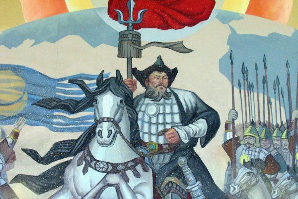 Peinture de Gengis Khan exposée au Aer Mountain National Geopark Museum de Mongolie Intérieure.