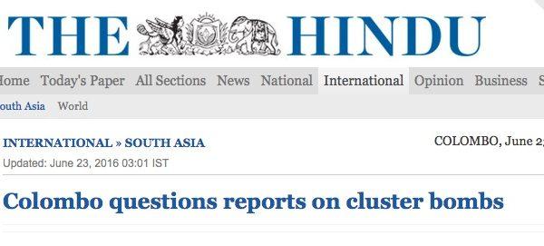 Le journal anglais The Guardian a révélé des photos mettant en cause le gouvernement sri lankais. Copie d'écran de The Hindu, le 23 juin 2016.