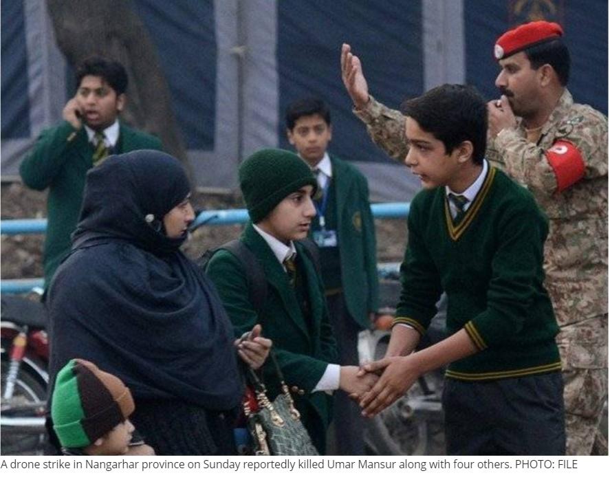 Une attaque de drone américain dans la province de Nangarhar ce dimanche aurait tué le terroriste taliban Umar Mansur, ainsi que quatre autres personnes. Copie d'écran de The Express Tribune, le 12 juillet 2016.