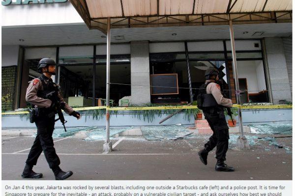 Le 4 janvier 2016, Jakarta était frappé par une attaque terroriste. Pour Singapour, il est temps de se préparer à l'inévitable - une attaque, qui viserait probablement des cibles civiles vulnérables. Copie d'écran du Straits Times, le 6 juillet 2016.