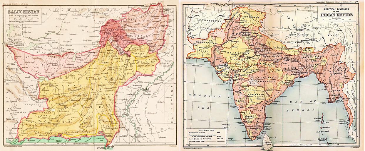 Carte du Baloutchistan sous la colonisation britannique (à gauche) et de l'Empire britannique des Indes (à droite). En rose, les territoires sous administration directe de la couronne britannique, et en jaune, les Etats princiers. (Crédits : Edinburgh Geographical Institute et John G. Bartholomew, via Wikimedia Commons)
