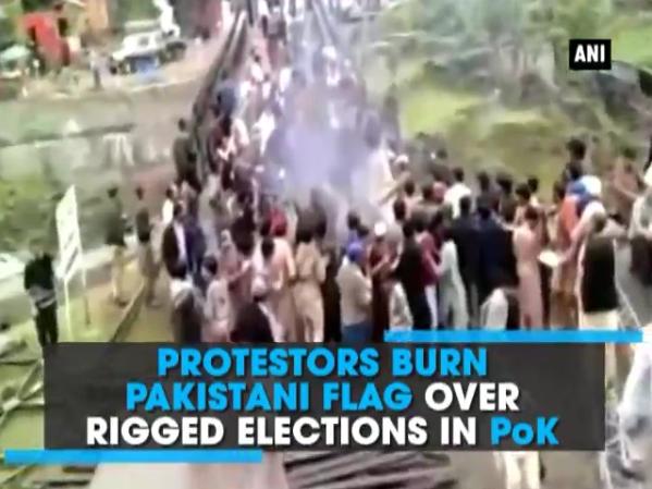 Le Cachemire pakistanais est secoué par des manifestations à la suite des résultats contestés des élections locales. Copie d'écran du Times of India, le 29 juillet 2016.