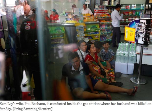 Un analyste politique critique du régime de Hun Sen a été tué par balle dimanche 10 juillet. Copie d'écran du Cambodia Daily, le 11 juillet 2016.